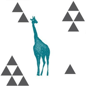 Geometric Giraffe in Teal