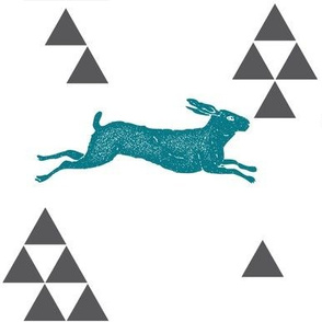 Geometric Hare in Teal