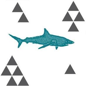 Geometric Shark in Teal