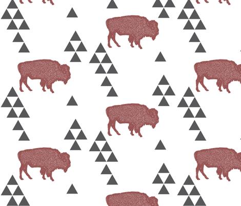 Geometric Buffalo in Wine fabric by bella_modiste on Spoonflower - custom fabric