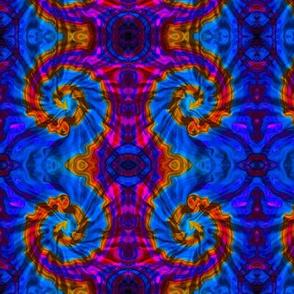 Tie Dye Blue and Orange Ram's Horn