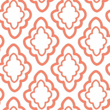 coud_diamonds_peach on white fabric by edie_martin on Spoonflower - custom fabric
