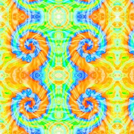 Tie Dye Gold and Blue Ram's Horn fabric by eclectic_house on Spoonflower - custom fabric