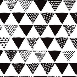 Geometric tribal aztec triangle black and white gender neutral  modern patterns