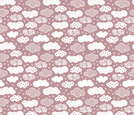 Abstract geometric clouds scandinavian sky dusty pink fabric by littlesmilemakers on Spoonflower - custom fabric