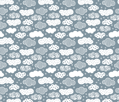 Abstract geometric clouds scandinavian sky winter blue fabric by littlesmilemakers on Spoonflower - custom fabric