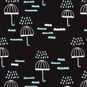Dark night umbrella rainy day cloudy sky clouds illustration scandinavian style illustration print