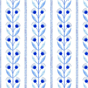 Floral Vines with Polka Dot Stripes in Blue