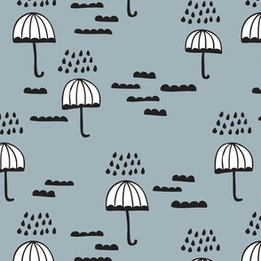 Umbrella rainy day cloudy sky clouds illustration scandinavian style illustration print winter blue