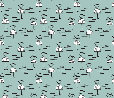 Umbrella rainy day cloudy sky clouds illustration scandinavian style illustration print winter blue fabric by littlesmilemakers on Spoonflower - custom fabric