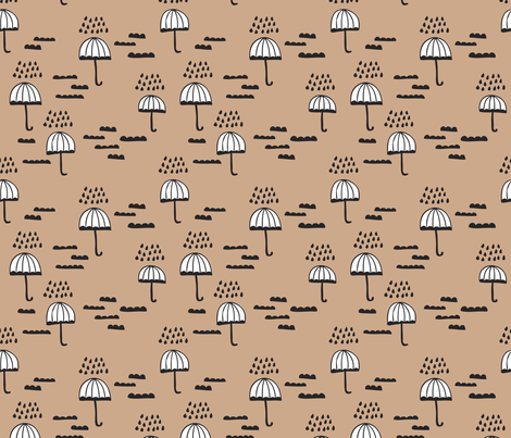Umbrella rainy day cloudy sky clouds illustration scandinavian style illustration print winter beige brown fabric by littlesmilemakers on Spoonflower - custom fabric
