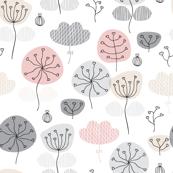 Pastel pink and gray poppy flower garden spring blossom fresh illustration print