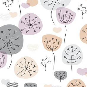 Pastel violet and gray poppy flower garden spring blossom fresh illustration print