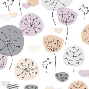 Pastel violet and gray poppy flower garden spring blossom fresh illustration print