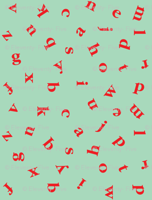 alphabet in teal and red