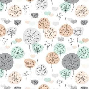 Pastel mint and gray poppy flower garden spring blossom fresh illustration print