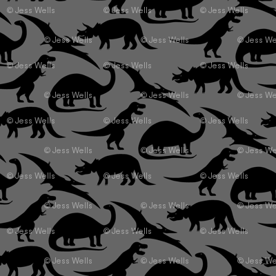 dinosaurs in black on charcoal grey