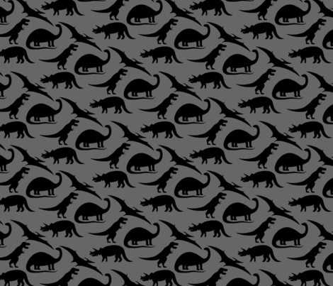 dinosaurs in black on charcoal grey fabric by eleventy-five on Spoonflower - custom fabric