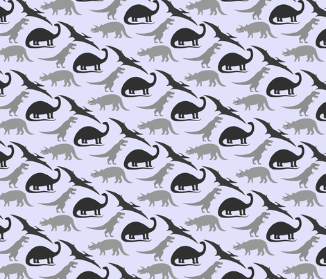 dinosaurs in grey on lavender fabric by eleventy-five on Spoonflower - custom fabric