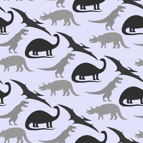 dinosaurs in grey on lavender