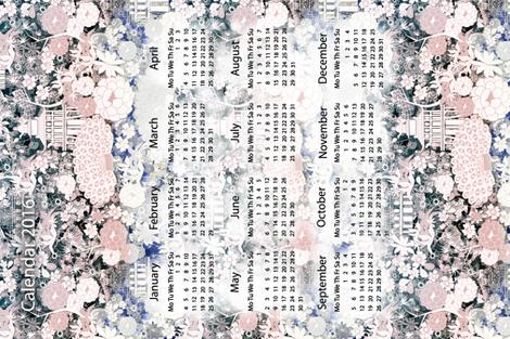 Japanese teahouse calendar 2016 fabric by kociara on Spoonflower - custom fabric