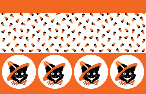 Cat Witch Candy Corn Border fabric by cantobellus on Spoonflower - custom fabric