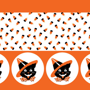 Cat Witch Candy Corn Border
