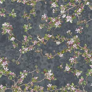 Big Apple Blossom on denim watercolour