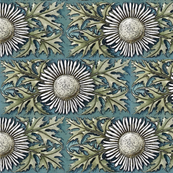 Floral Tile in white, Blue and Green