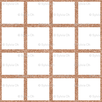 Rose Gold Grid on White