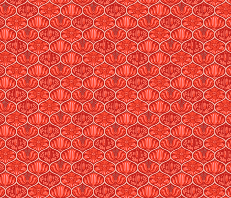 Romance Poppies Ogee Red Small fabric by robinpickens on Spoonflower - custom fabric