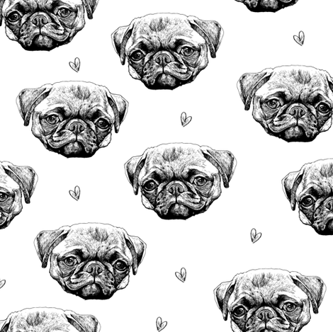PUG LOVE fabric by illnessink on Spoonflower - custom fabric