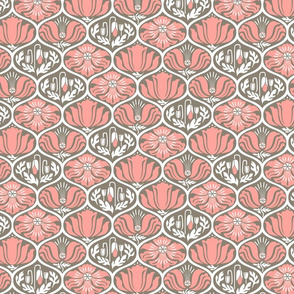 Romance Poppies Ogee Pink Gray