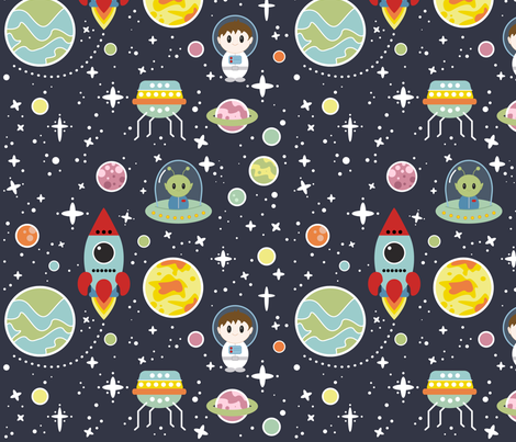 Oh, Space Boy - Vector Version fabric by cloudsfactory on Spoonflower - custom fabric