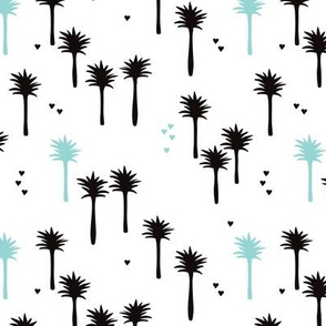 Cute abstract summer palm tree illustration print for bohemian kids mint blue