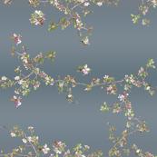 Apple Blossom Botanical on Vintage Blue