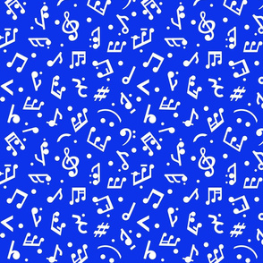 """Music Notes on Navy BG"" small scale."