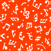 Music Notes on Red BG in smaller scale