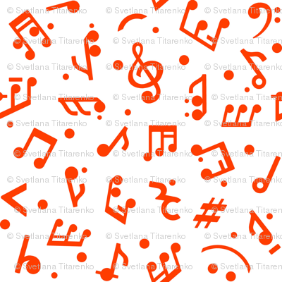 """""""Music Notes in Red"""" small scale."""