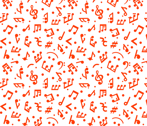"""""""Music Notes in Red"""" small scale. fabric by happyart on Spoonflower - custom fabric"""