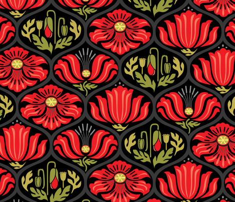 Poppy Ogee_multiColor_Lg fabric by robinpickens on Spoonflower - custom fabric