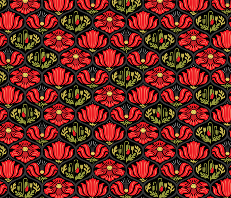 Poppy Ogee_multiColor_Med fabric by robinpickens on Spoonflower - custom fabric