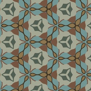 Abstract Floral Elements in Blue and Tan