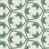 Thorny Vines in Green and White