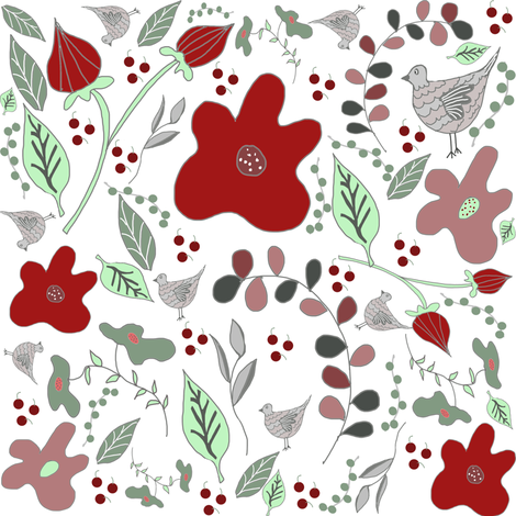 Red Flowers and Grey Doves fabric by ireneireneart on Spoonflower - custom fabric