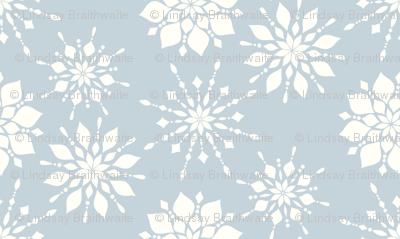 Elegant Snowflakes Gray Blue