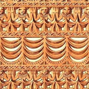 Tribal Design in Orange and Cream Watercolor