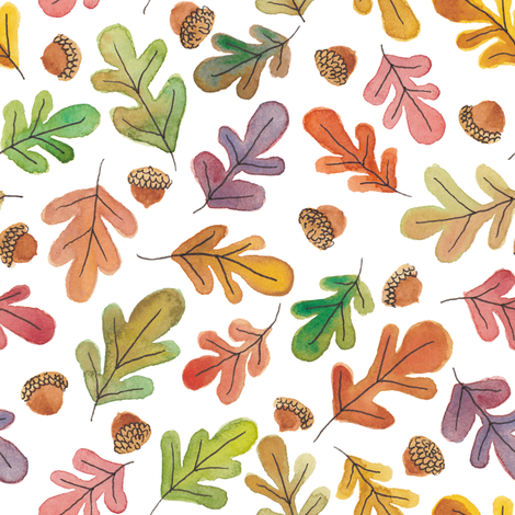 Autumn Leaves and Acorns fabric by kirsten_sevig on Spoonflower - custom fabric