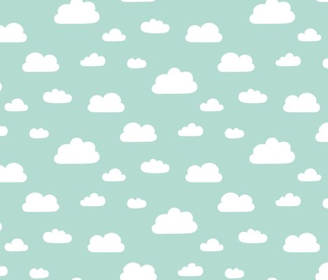 Clouds mint background fabric kimsa spoonflower for Grey childrens fabric