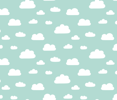 Clouds - Mint background fabric by kimsa on Spoonflower - custom fabric